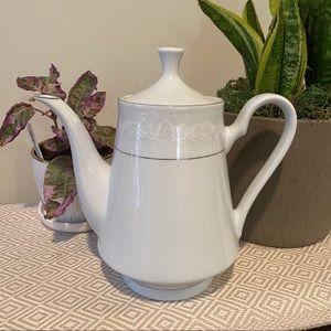 Vintage Teapot Crown Ming White Silver Coffee